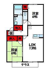 クレールコートC棟[1階]の間取り
