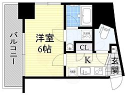 JR東西線 海老江駅 徒歩3分の賃貸マンション 6階1Kの間取り