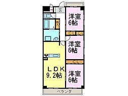 パークサイド雁宿1号館[3階]の間取り