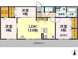 JR山陽本線 庭瀬駅 徒歩22分の賃貸アパート 3階3LDKの間取り