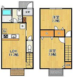 [タウンハウス] 兵庫県尼崎市富松町2丁目 の賃貸【/】の間取り