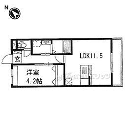 仮)京都市右京区西院西田町新築マンション 2階1LDKの間取り