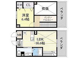 Osaka Metro御堂筋線 なかもず駅 徒歩2分の賃貸マンション 11階1LDKの間取り