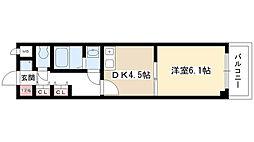 プランドールI 6階1DKの間取り