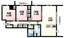 Osaka Metro御堂筋線 江坂駅 徒歩14分の賃貸マンション 6階3LDKの間取り