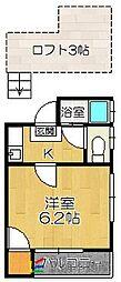 JR香椎線 和白駅 徒歩2分の賃貸アパート 2階1Kの間取り