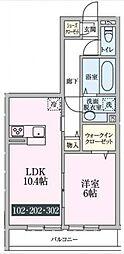 ルーチェ柴崎台[202号室号室]の間取り