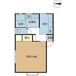新潟県新潟市中央区女池8丁目の賃貸アパートの間取り