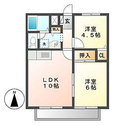 愛知県名古屋市昭和区伊勝町1の賃貸アパートの間取り