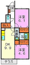 滋賀県守山市吉身2丁目の賃貸アパートの間取り