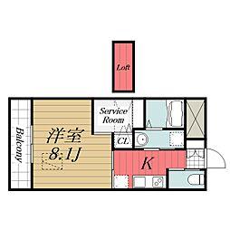 京成本線 公津の杜駅 徒歩8分の賃貸マンション 2階1SKの間取り