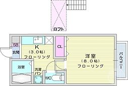 仙台市営南北線 愛宕橋駅 徒歩5分の賃貸アパート 1階1Kの間取り