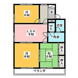 愛知県名古屋市名東区高社2丁目の賃貸マンションの間取り