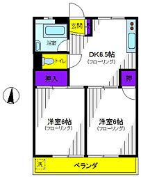 東京都立川市高松町1丁目の賃貸マンションの間取り