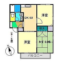 エスポワールE棟[2階]の間取り
