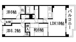 セレーノ花屋敷[3階]の間取り