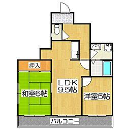 メロディハイム松原[6階]の間取り