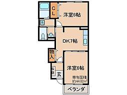 京都府京都市山科区音羽沢町の賃貸アパートの間取り
