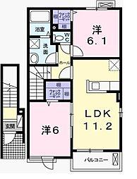 兵庫県加西市北条町栗田の賃貸アパートの間取り