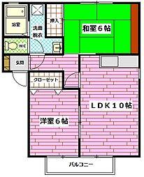 広島県安芸郡熊野町城之堀4丁目の賃貸アパートの間取り
