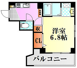 リフレスロイヤルシティIII 6階1Kの間取り