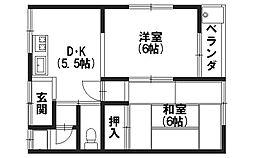 京都府向日市物集女町出口の賃貸アパートの間取り