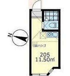 JR京浜東北・根岸線 鶴見駅 徒歩13分の賃貸アパート 2階ワンルームの間取り