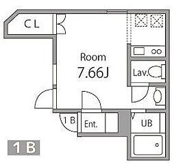 WAN 1階ワンルームの間取り