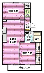 広島県広島市安佐南区大町東2丁目の賃貸アパートの間取り
