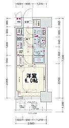 ララプレイス大阪新町ヴェレ 11階1Kの間取り