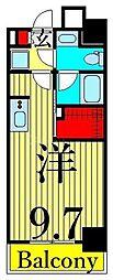 JR山手線 日暮里駅 徒歩11分の賃貸マンション 5階ワンルームの間取り