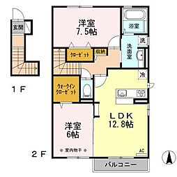 長野県長野市三本柳西1丁目の賃貸アパートの間取り