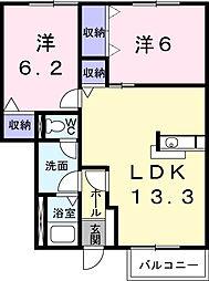 愛知県西尾市吉良町吉田東郷の賃貸アパートの間取り