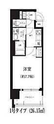 Osaka Metro谷町線 谷町六丁目駅 徒歩8分の賃貸マンション 8階1Kの間取り