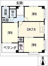 西条マンション[4階]の間取り