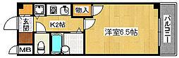 大阪府堺市堺区中三国ヶ丘町1丁の賃貸マンションの間取り