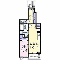 JR関西本線 柏原駅 徒歩20分の賃貸マンション 1階1LDKの間取り