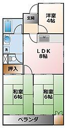 甲子園パインマンション[3階]の間取り