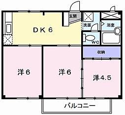 東京都武蔵村山市本町2丁目の賃貸アパートの間取り