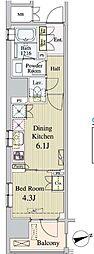 東京メトロ日比谷線 八丁堀駅 徒歩5分の賃貸マンション 9階1DKの間取り