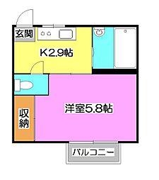 埼玉県所沢市東住吉の賃貸アパートの間取り