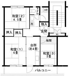 UR泉北庭代台二丁[3階]の間取り