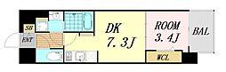 JPレジデンス大阪城東4 2階1DKの間取り