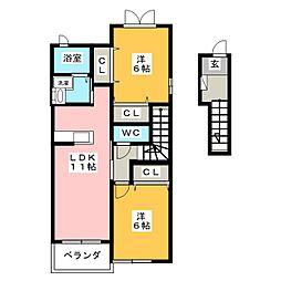 ひまわりB[2階]の間取り
