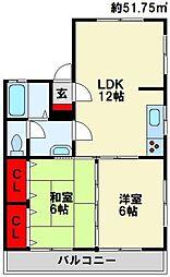 福岡県遠賀郡水巻町伊左座1丁目の賃貸アパートの間取り