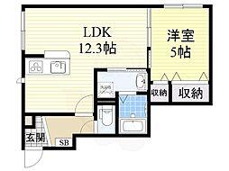 モモワンハウス 1階1LDKの間取り