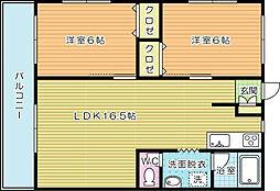 福岡県北九州市小倉南区徳吉東5丁目の賃貸マンションの間取り