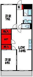 ライオンズマンション赤間[5階]の間取り