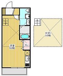 JR総武線 本八幡駅 徒歩22分の賃貸アパート 2階ワンルームの間取り