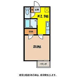 シャトルKB[3階]の間取り